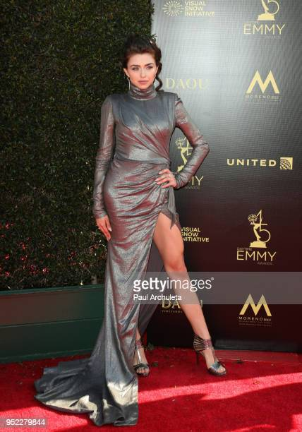 Actress Victoria Konefal attends the 45th Annual Daytime Creative Arts Emmy Awards at the Pasadena Civic Auditorium on April 27 2018 in Pasadena...