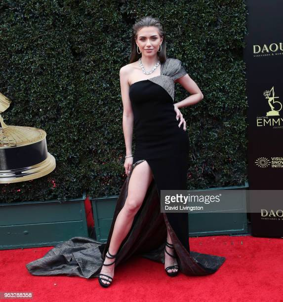 Actress Victoria Konefal attends the 45th Annual Daytime Emmy Awards at Pasadena Civic Auditorium on April 29 2018 in Pasadena California