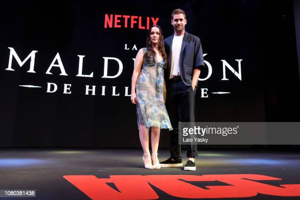 Actress Victoria Pedretti and Oliver JacksonCohen of The Hauting of Hill House of Netflix during day 3 of Argentina Comic Con 2018 at Costa Salguero...