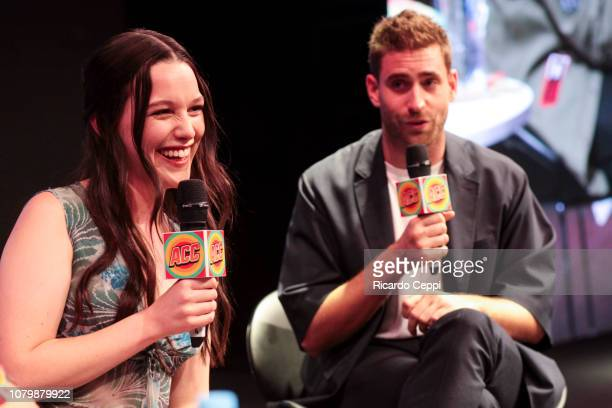 Actress Victoria Pedretti speaks in an interview as part of the The Haunting of Hill House panel during day 3 of Argentina Comic Con 2018 at Costa...