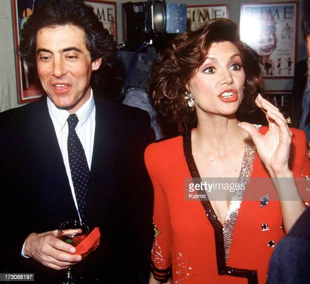 Actress Victoria Principal with her husband plastic surgeon Harry Glassman at the Time Covers Hollywood 19231985 February 14 1985 at Samuel Goldwyn...