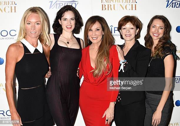 Actress Victoria Smurfit Amy Bailey Frances Fisher and Mairaa Walsh arrive with film producer Cindy Cowan at Empowered Brunch With Cindy Cowan at...