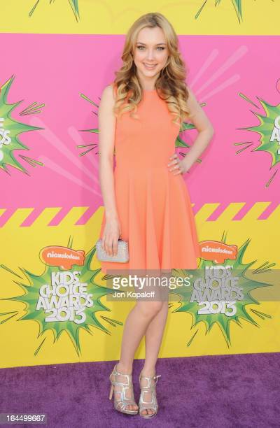 Actress Victory Van Tuyl arrives at Nickelodeon's 26th Annual Kids' Choice Awards at USC Galen Center on March 23 2013 in Los Angeles California
