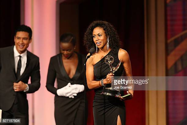 Actress Vinessa Antoine accepts her Emmy at onstage during the 2016 Daytime Emmy Awards at Westin Bonaventure Hotel on May 1 2016 in Los Angeles...