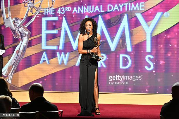Actress Vinessa Antoine accepts her Emmyat the 43rd Annual Daytime Emmy Awards at the Westin Bonaventure Hotel on May 1 2016 in Los Angeles California