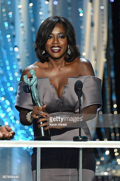 Actress Viola Davis accepts the Female Actor in a Drama Series award for 'How to Get Away with Murder' onstage during The 22nd Annual Screen Actors...