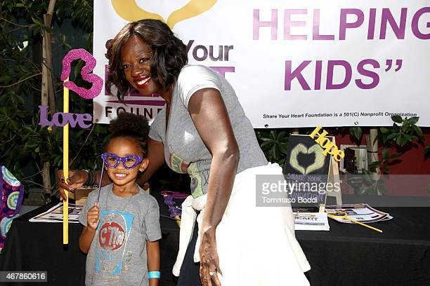 Actress Viola Davis and Genesis Tennon attend the GBK Stop Attack Pre Kids Choice Gift Lounge held at The Redbury Hotel on March 27 2015 in Hollywood...