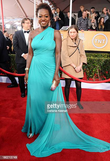 Actress Viola Davis attends the 19th Annual Screen Actors Guild Awards at The Shrine Auditorium on January 27 2013 in Los Angeles California...