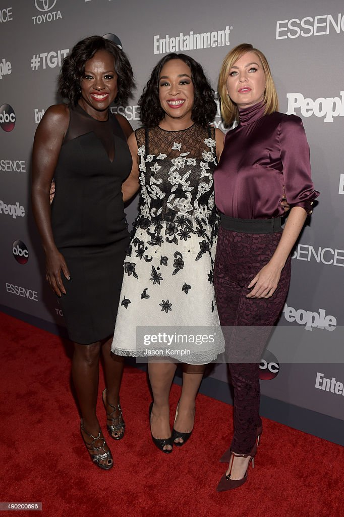 Actress Viola Davis, Executive Producer Shonda Rhimes, and actress Ellen Pompeo attend the Celebration of ABC's TGIT Line-up presented by Toyota and co-hosted by ABC and Time Inc.'s Entertainment Weekly, Essence and People at Gracias Madre on September 26, 2015 in West Hollywood, California.