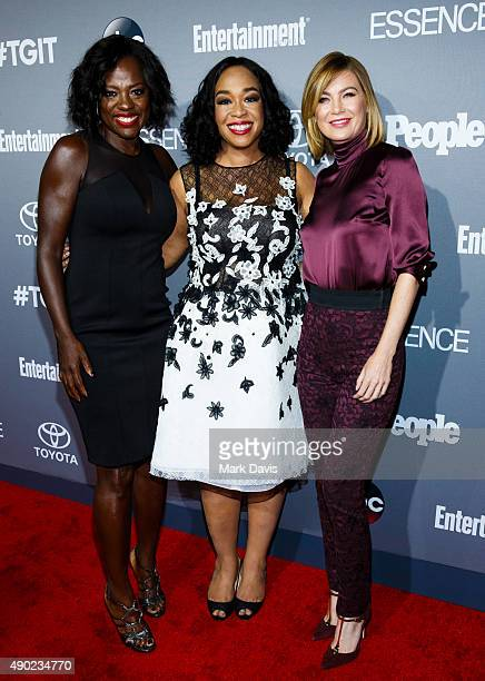 Actress Viola Davis, Executive Producer Shonda Rhimes and Actress Ellen Pompeo attend the celebration of ABC's TGIT Line-up held at Gracias Madre on...