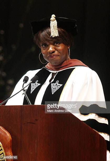 Actress Viola Davis gives the keynote address during the 2012 Providence College Commencement Ceremony at the Dunkin Donuts Center on May 20, 2012 in...