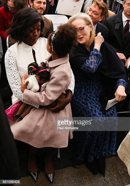 Actress Viola Davis her daughter Genesis Tennon and Actress Meryl Streep attend the ceremony to honor Viola Davis with a Star On The Hollywood Walk...