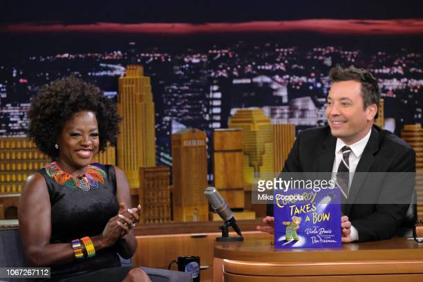 """Actress Viola Davis is interviewed by host Jimmy Fallon as she visits """"The Tonight Show Starring Jimmy Fallon"""" at Rockefeller Center on November 13,..."""