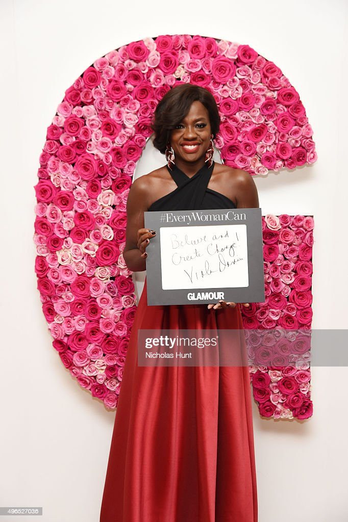 Actress Viola Davis poses for a photo at the backstage inspiration wall at the 2015 Glamour Women of the Year Awards at Carnegie Hall on November 9, 2015 in New York City.