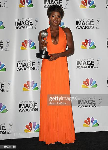 Actress Viola Davis poses in the press room at the 43rd annual NAACP Image Awards at The Shrine Auditorium on February 17 2012 in Los Angeles...