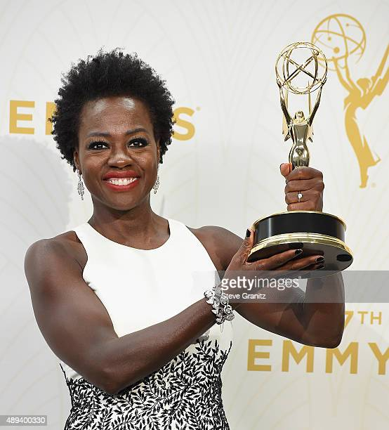 Actress Viola Davis poses with an Emmy award in the press room at the 67th Annual Primetime Emmy Awards at Microsoft Theater on September 20 2015 in...