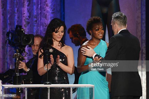 Actress Viola Davis presents actor Daniel DayLewis the award for Outstanding Performance by a Male Actor in a Leading Role for 'Lincoln' onstage...