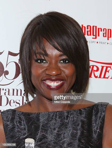 Actress Viola Davis receives an award at the 55th Annual Drama Desk Awards at the FH LaGuardia Concert Hall at Lincoln Center on May 23 2010 in New...