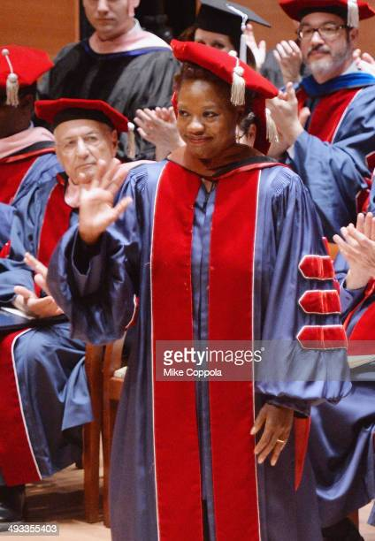 Actress Viola Davis receives an honorary Doctor of Fine Arts degree at the Juilliard School 109th commencement ceremony at Alice Tully Hall on May...