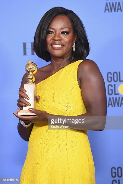 Actress Viola Davis, winner of Best Supporting Actress in a Motion Picture for 'Fences,' poses in the press room during the 74th Annual Golden Globe...