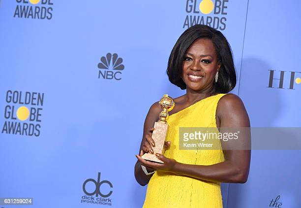 Actress Viola Davis winner of Best Supporting Actress in a Motion Picture for 'Fences' poses in the press room during the 74th Annual Golden Globe...