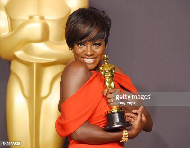 Actress Viola Davis, winner of the award for Actress in a Supporting Role for 'Fences,' poses in the press room during the 89th Annual Academy Awards...