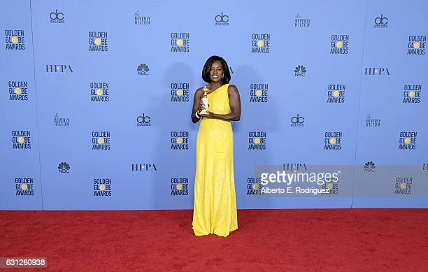 Actress Viola Davis, winner of the Best Performance by an Actress in a Supporting Role in Any Motion Picture for 'Fences', poses in the press room...