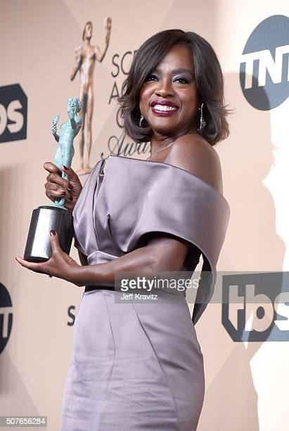 Actress Viola Davis, winner of the Outstanding Performance by a Female Actor in a Drama Series award, poses in the press room during the 22nd Annual...