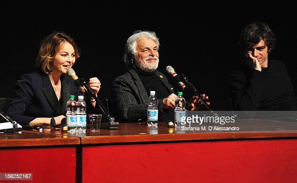 Actress Violante Placido director Michele Placido and actor Luca Argentero attend 'The Lookout' Press Conference during the 7th Rome Film Festival at...