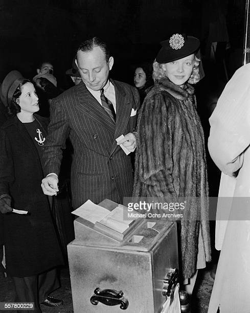 Actress Virginia Bruce and husband Screenwriter J Walter Ruben attend an event in Los Angeles California
