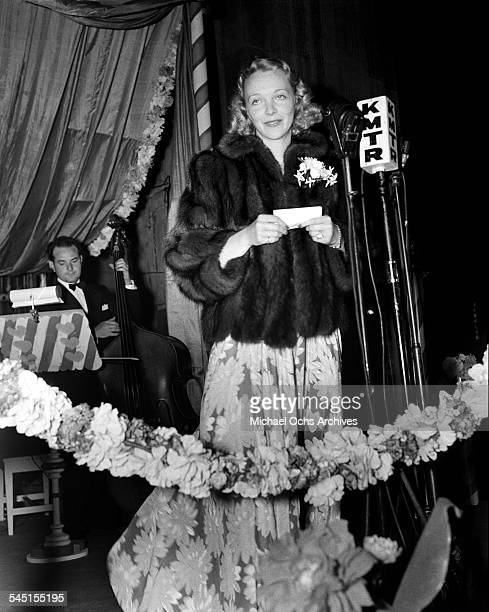 Actress Virginia Bruce speaks during an event in Los Angeles California