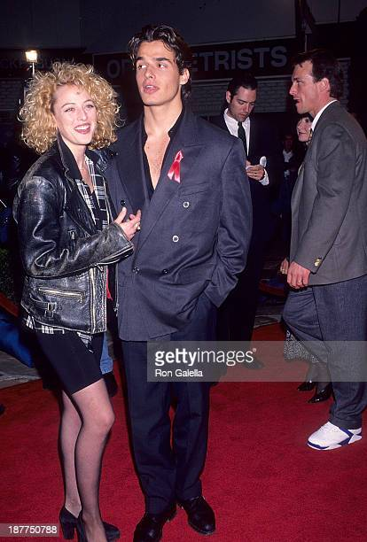 Actress Virginia Madsen and actor Antonio Sabato Jr attend the Groundhog Day Westwood Premiere on February 4 1993 at the Mann Village Theatre in...