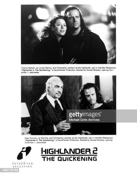 Actress Virginia Madsen and actor Christopher Lambert actors Sean Connery and Christopher Lambert on the set of the movie 'Highlander II The...
