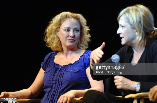 Actress Virginia Madsen and actress Hallie Todd participate in the 11th Annual Official Star Trek Convention day 2 held at the Rio Hotel Casino on...