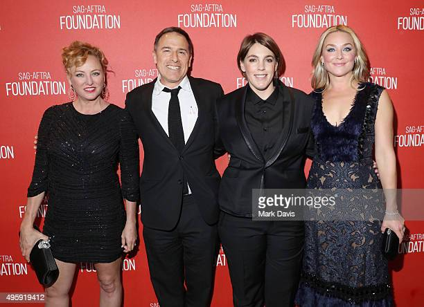 Actress Virginia Madsen filmmaker David O Russell honoree Megan Ellison and actress Elisabeth Rohm attend the Screen Actors Guild Foundation 30th...