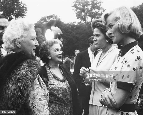 Actress Virginia McKenna talking to women French Resistance fighters and wartime heroes Louisette Tanter Germaine Lefebver and Odette Churchill on...