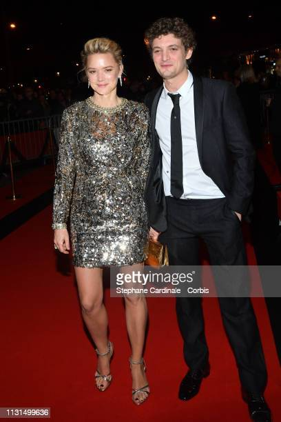 Actress Virginie Efira and actor Niels Schneider attend the Cesar Film Awards Dinner at Le Fouquet's on February 22 2019 in Paris France