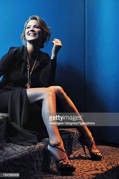 Actress Virginie Efira is photographed for Madame Figaro on October 10 2011 in Paris France Published image Figaro ID 101935005 Dress by Roland...