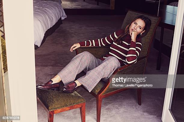 Actress Virginie Ledoyen is photographed for Madame Figaro on October 11 2016 in Paris France Sweater pants Brindille and Babylone rings Pure...
