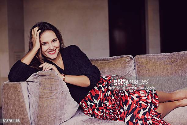 Actress Virginie Ledoyen is photographed for Madame Figaro on October 11 2016 in Paris France Sweater skirt Carré Chic and Babylone necklace Pop and...