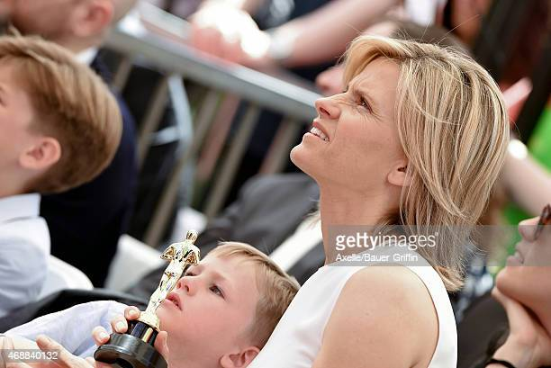 Actress Viveca Paulin and son Axel Ferrell attend the ceremony honoring Will Ferrell with a star on the Hollywood Walk of Fame on March 24 2015 in...