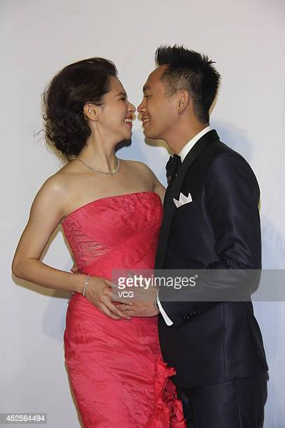 Actress Vivian Hsu and her husband Sean Lee attend their wedding ceremony at Le Meridien Hotel on July 23 2014 in Shanghai China