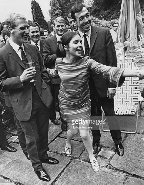 Actress Viviane Ventura with visiting members of the English World Cup squad at Pinewood film studios Buckinghamshire 12th July 1966 Left to right...