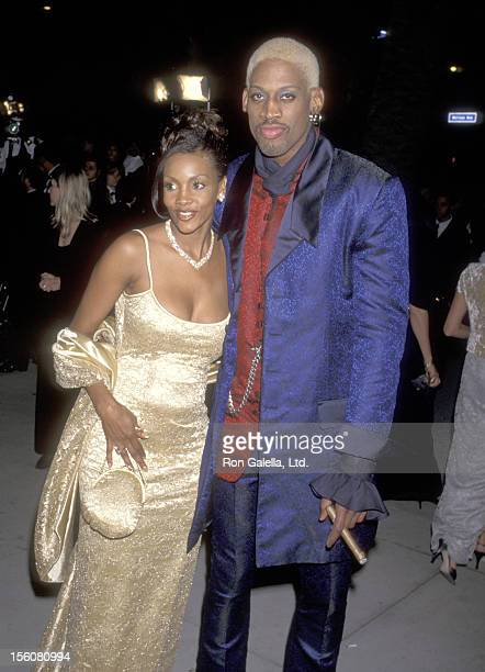 Actress Vivica A Fox and Dennis Rodman attend the Fourth Annual Vanity Fair Oscar Party on March 24 1997 at Morton's Restaurant in West Hollywood...