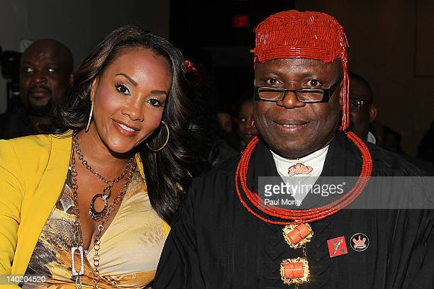 Actress Vivica A Fox and King Frank Okurakpo attend the 'Black November' film screening at The Library of Congress on February 29 2012 in Washington...