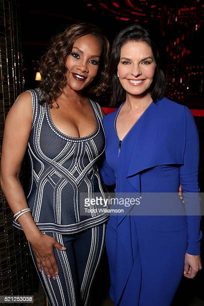 Actress Vivica A Fox and Sela Ward recipients of the Ensemble of the Universe Award for Independence Day Resurgence attend the CinemaCon Big Screen...