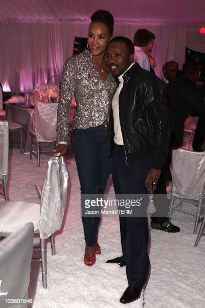 Actress Vivica A Fox and singer Anthony Hamilton attend the Jordan Brand Fabulous 23 Cocktail Party and Dinner held at the W Hotel Wet Deck on...