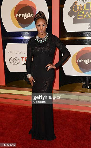 Actress Vivica A Fox arrives at the 2013 BET Soul Train Awards at the Orleans Arena on November 8 2013 in Las Vegas Nevada