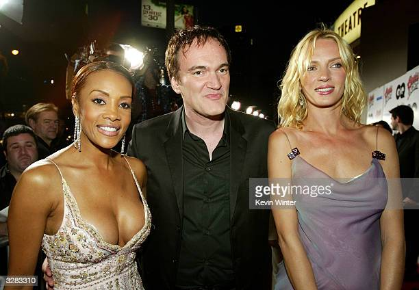 Actress Vivica A Fox director Quentin Tarantino and actress Uma Thurman attend the Miramax Feature film premiere of 'Kill Bill Vol II' at the...