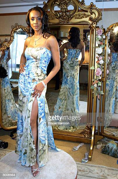 Actress Vivica A Fox models a dress by designer Randi Rahn with jewelry by Kashikey Co and Michael Werdiger Inc at the Le Meridian Hotel on February...